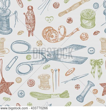 Seamless Pattern With Hand-drawn Vintage Sewing Tools. Scissors, Buttons, Threads, Needles, Pins, Sp