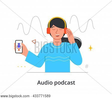 Joyful Female Character Is Really Into Listening To An Audio Podcast On Her Smartphone On White Back