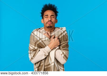 Wais-up Portrait Sick African American Hipster Guy With Modern Afro Haircut, Sneezing, Have Runny No