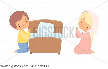 Little Kid Kneeling Beside His Bed And Praying With Folded Hands Vector Set