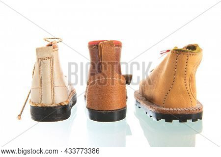 Vintage Ski shoes isolated over white background