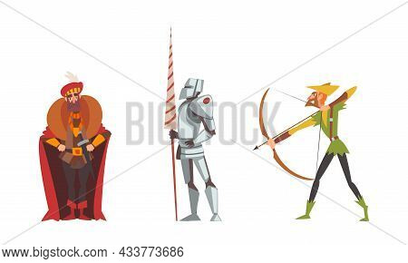 Medieval Archer With Bow And Knight With Lance Vector Set