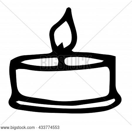 A Burning Candle. Vector Element Of A Small Flat Candle, Hand-drawn In The Doodle Style With An Isol