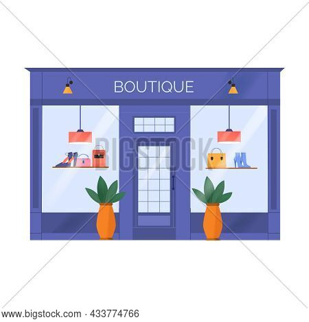 Boutique Entrance And Display With Fashionable Accessories Flat Icon Vector Illustration