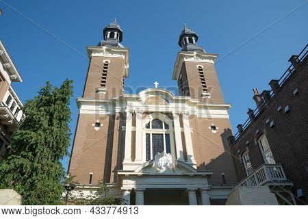 Front Facade Catholic Church Or St Peter And St Paul In Rotterdam, Netherlands.