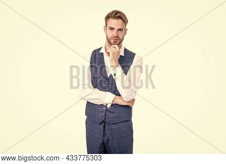 Serious Guy Touch Unshaven Beard Hair Wearing Formal Fashion Style With Classy Look, Classic