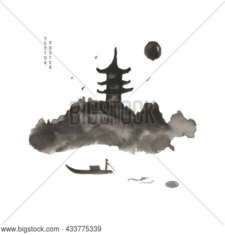 Japanese House On A Mountain In The Light Of The Moon Or Sun. The Boatman Floats. Vector Illustratio