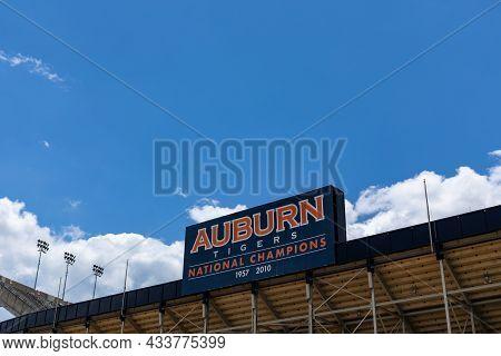 Auburn Alabama, Usa - June 18, 2020 - Exterior Of The Jordan-hare Stadium With Auburn Tigers Nationa