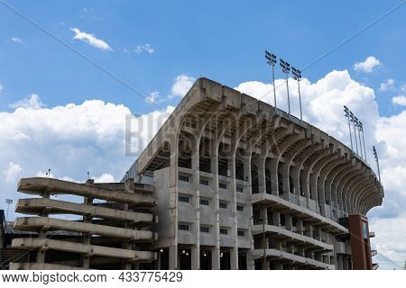 Auburn Alabama, Usa - June 18, 2020 - Exterior Of The Jordan-hare Stadium With Concrete Construction