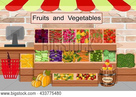 Counter With Products In The Store.a Counter With Vegetables And Fruits In The Store.farm Products I