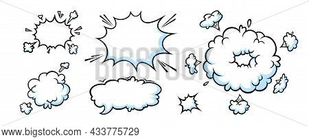Comic Booms And Bangs. Blast And Burst Clouds For Surprising And Explosive Events. Vector Illustarti