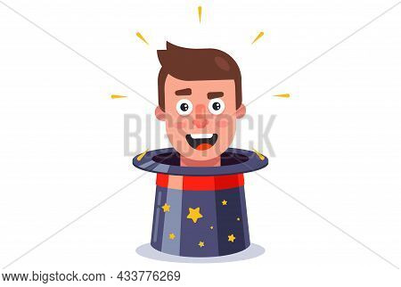 An Assistant Head Appears From The Magician Hat. Funny Trick. Flat Character Vector Illustration.