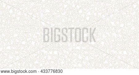 Golden Line Pattern. Subtle Vector Seamless Texture With Thin Curved Lines, Fluid Shapes, Organic Li