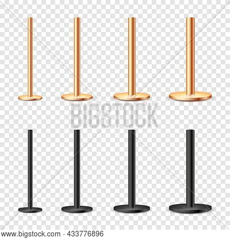 Realistic Metal Poles Collection Isolated On Transparent Background. Glossy Bronze And Steel Pipes O