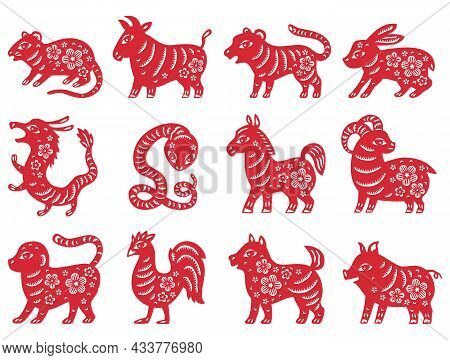 Chinese Zodiac New Year Signs. Traditional China Horoscope Animals. Set Consists Of Silhouette Of An