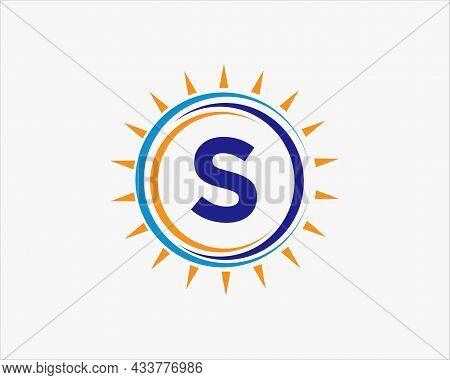 Sun Solar Energy Logo On Letter S Template. S Letter Solar Logo Design. Solar Panel Farm Electric Fa