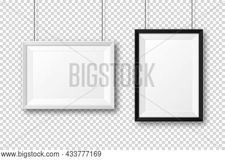 Realistic Black And White Picture Frames With Shadow On Checkered Background. Hanging On A Wall Blan