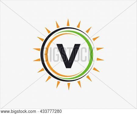 Sun Solar Energy Logo On Letter V Template. V Letter Solar Logo Design. Solar Panel Farm Electric Fa