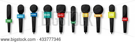 Microphones Collection. Realistic Microphone With Shadow. Mass Media, Tv Television Show. Audio Conf