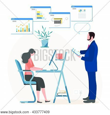 Vector Illustration People Analyzing Data Using Computer Profession. Employees Of The Company Workin