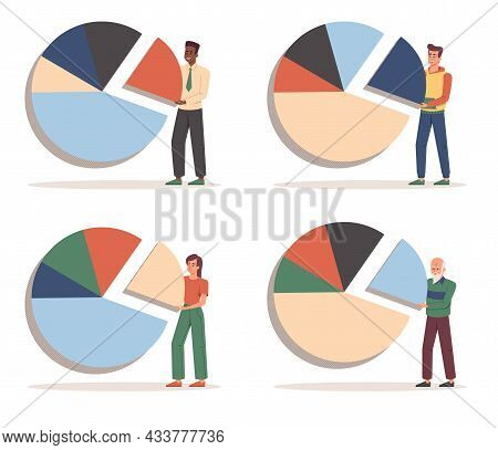Set Of Male Characters Are Standing Near Pie Charts To Invest On White Background. Concept Of Invest