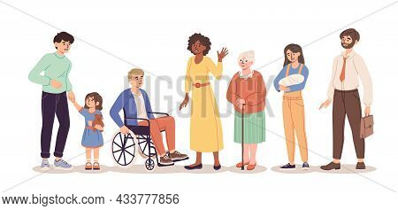 Diverse Group Of People Standing Together On White Background. Concept Of Diversity With Multicultur