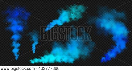 Realistic Blue Colorful Smoke Clouds, Mist Effect. Colored Fog On Dark Background. Vapor In Air, Ste