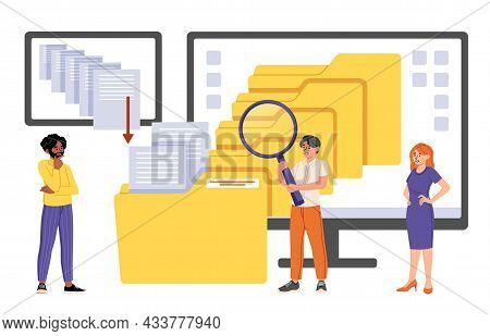 Male And Female Office Employees Are Searching And Indexing Files On Computer On White Background. M