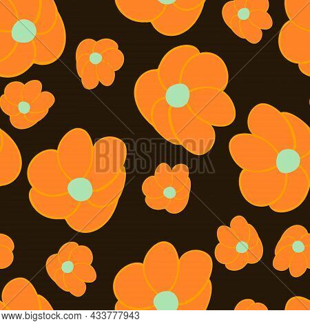 Patern With Orange Flowers Large And Small On Black Background.abstract Flowers Big And Small.applic