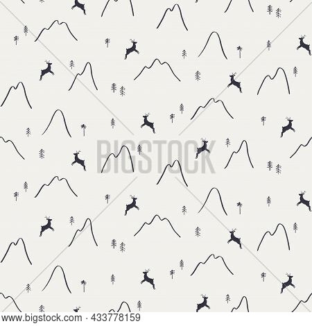 Mountains, Trees, Reindeer Silhouette, Minimal Winter Seamless Pattern, Black On Gray Background. Ha