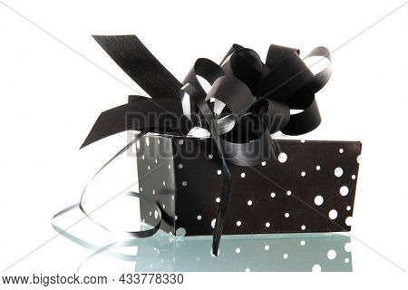 Luxury black present isolated over white background