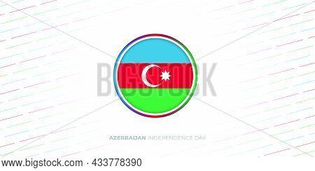 Azerbaijan Circle Flag Vector Illustration. Azerbaijan Independence Day. Good Template For Azerbaija