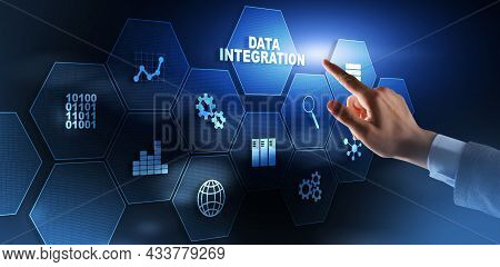 Business Technology Data Integration Concept On Abstract Background