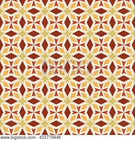 Beautiful Floral Seamless Pattern. Vector Maroon, Red, Yellow, Gold Background. Trendy Geo Leaf Orna
