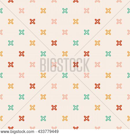 Colorful And Cool Seamless Pattern. Vector Illustration With Funny Small Crosses, Plus Signs. The Ba