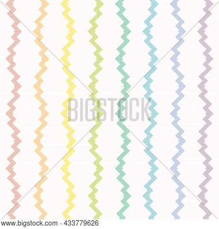 Rainbow Colorful Fun Pattern. Seamless Illustration With Rainbow Zigzag Shapes, Lines. Cute Childish