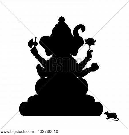 Silhouette Of Indian Goddess Genesha. Happy Genesha Chaturhti. Pancha Ganapati Festival. Illustratio