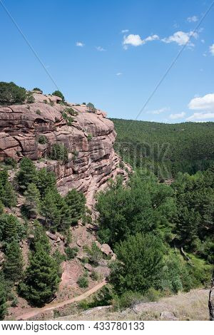 Beautiful Landscape With Hills And Forest Of Pinetrees. Trekking Area In Pinares De Rodeno Teruel, A