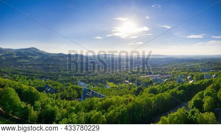 Panorama of the health resort in Ustron on the hills of the Silesian Beskids, Poland