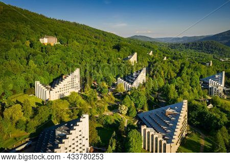 Scenery of the health resort in Ustron on the hills of the Silesian Beskids, Poland
