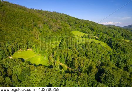 Aerial landscape of the Silesian Beskid in Ustron. Poland
