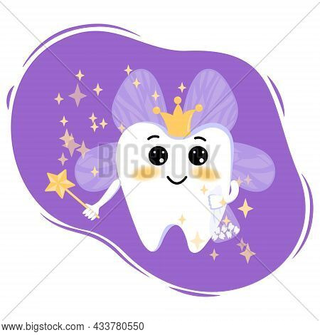 Cute Cartoon Tooth Fairy With A Magic Wand And Wings With Magic Stars. Tooth Fairy In A Flat Style.