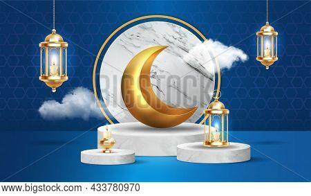 Cute Islamic Podium With Fluffy Clouds, Gold Crescent Moon And Lanterns Hanging On Dark Blue Backgro