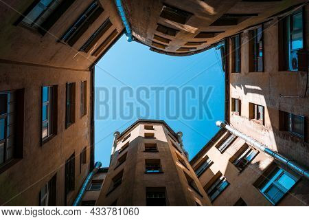 An Upward View From The Courtyard Of An Old House In St. Petersburg, Russia.