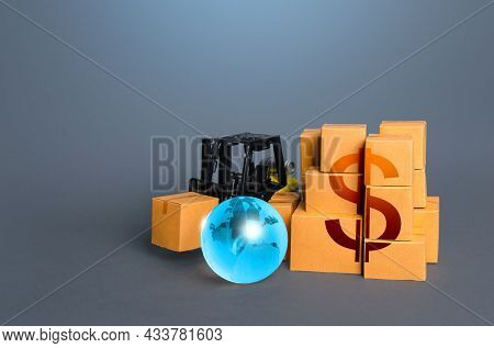 Forklift And Boxes With Us Dollar Symbol. Trade And Goods Transportation Services. Business Industry