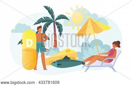 Female Characters Are Eating Fish, Vitamin D, Cheese And Sunbathing Together On The Beach. Concept O