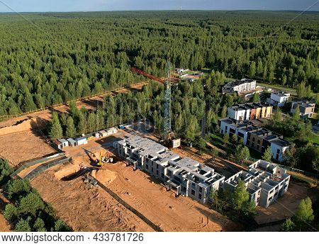 Construction Of Country Modern Houses. Cottages, Townhouses And Line Houses. Home Building And City