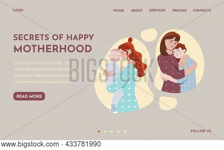 Female Characters With Their Children Of Different Ages. Concept Of Motherhood, Parenthood, Childhoo