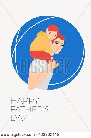 Happy Father's Day! Cartoon Illustration With Dad And Daughter. Cute Holidays Poster, Greeting Card