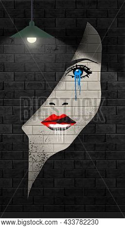 A Young Woman's Face Is Stenciled And Spray Painted On A Brick Wall. Her Blue Eye Streams Paint That